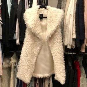Sherpa style long vest, cream, small
